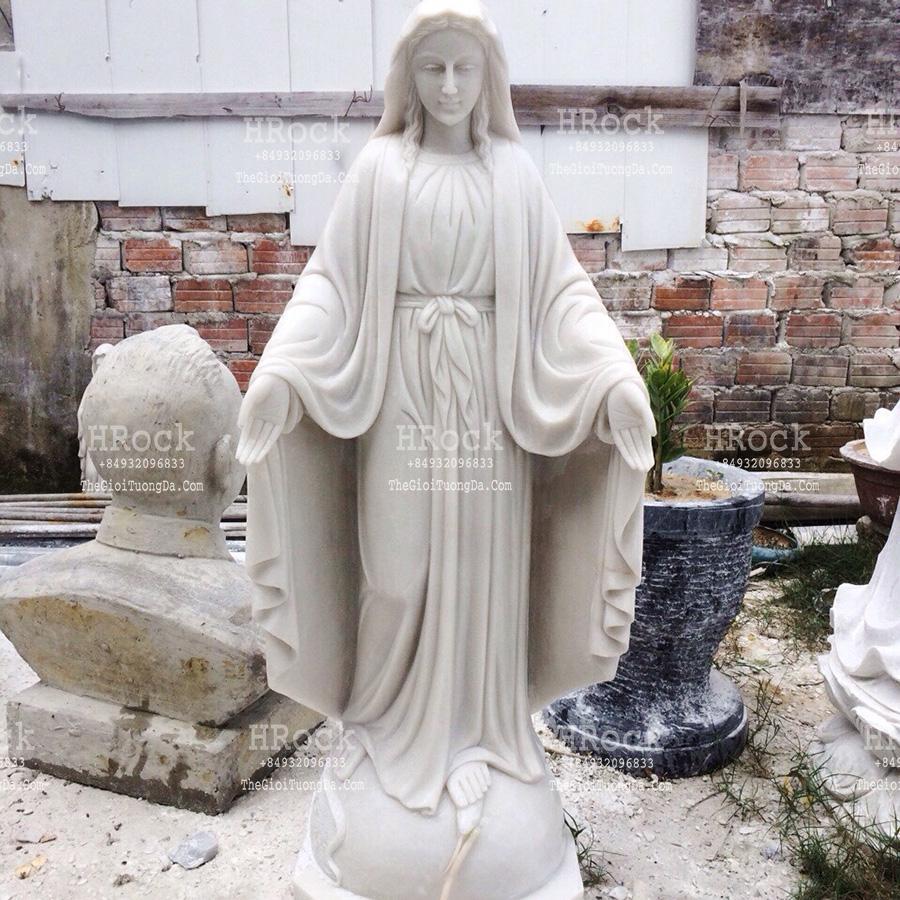 Tượng Đức Mẹ Ban Ơn Bằng Đá Trắng