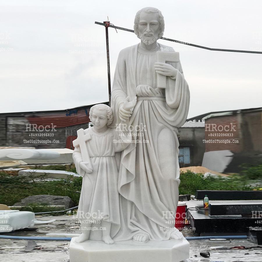 Tượng Thánh Joseph Bằng Đá Nguyên Khối